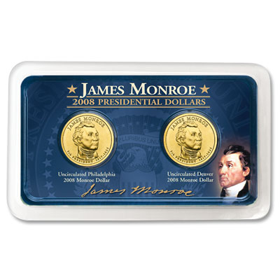 Image for 2008 P&D James Monroe Presidential Dollars in Exclusive Showpak, Uncirculated, MS60 from Littleton Coin Company