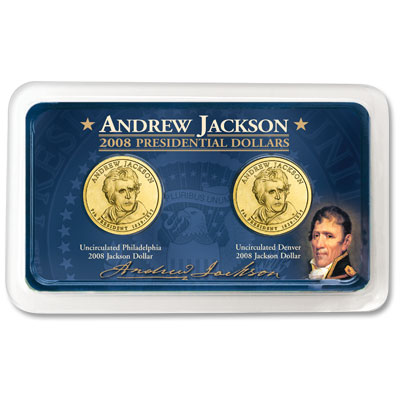 Image for 2008 P&D Andrew Jackson Presidential Dollars in Exclusive Showpak® from Littleton Coin Company
