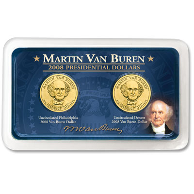 Image for 2008 P&D Martin Van Buren Presidential Dollars in Showpak®, Uncirculated, MS60 from Littleton Coin Company