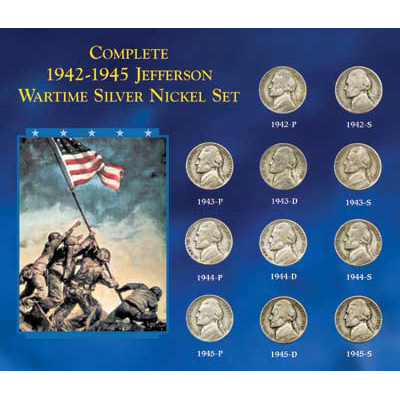 Image for 1942P-1945S Complete Wartime Silver Nickel Set from Littleton Coin Company