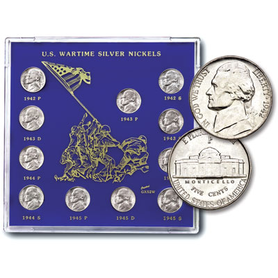 Image for 1942-1945 Jefferson Wartime Nickel Set in Capital Holder from Littleton Coin Company