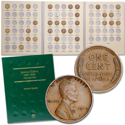 Image for 1909-1955 Lincoln Cent Collection (50 coins) with 2 Folders from Littleton Coin Company