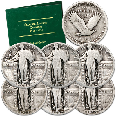 Image for 1925-1930 Year Set of Standing Liberty Silver Quarters from Littleton Coin Company