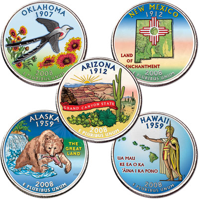 Image for 2008 Colorized Statehood Quarter Year Set from Littleton Coin Company