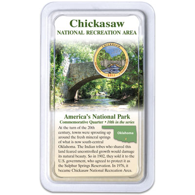 Image for 2011 Colorized Chickasaw National Park Quarter in Showpak from Littleton Coin Company