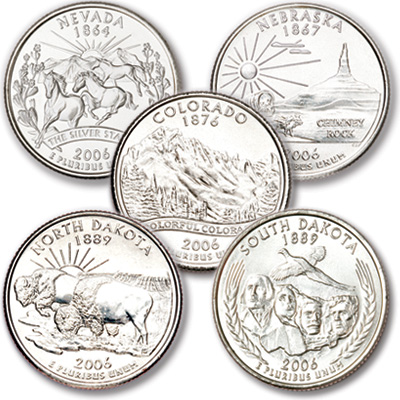 Image for 2006 Statehood Quarter Year Set (5 coins), Uncirculated, MS60 from Littleton Coin Company