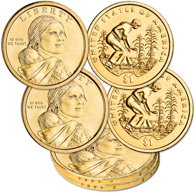 Image for 2009 P&D Native American Dollar Set, Uncirculated, MS60 from Littleton Coin Company
