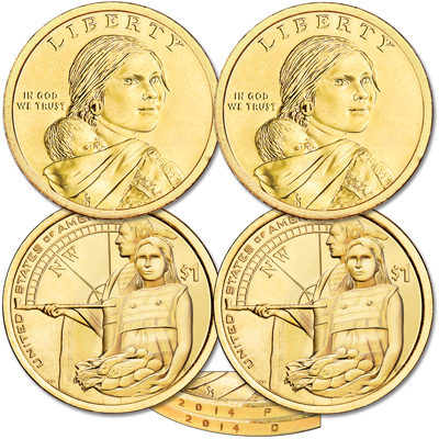 Image for 2014 P&D Native American Dollar Set from Littleton Coin Company