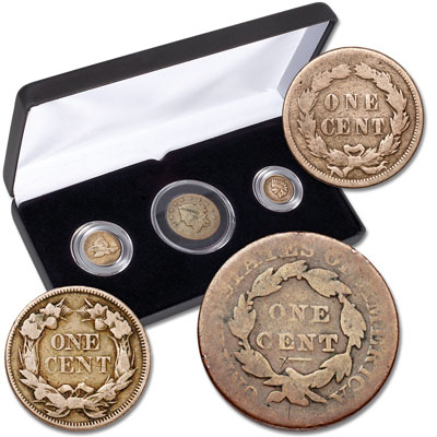 Image for 1820-1859 Early Cent Type Set (3 coins) from Littleton Coin Company