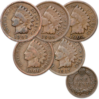 Image for 1902-1907 5 Different Indian Head Cents, Circulated from Littleton Coin Company