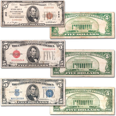Image for Series 1928-1934 $5 Small-Size Note Type Set from Littleton Coin Company