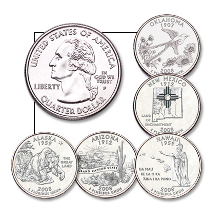 Image for 2008 Statehood Quarter Year Set (5 coins), Uncirculated, MS60 from Littleton Coin Company