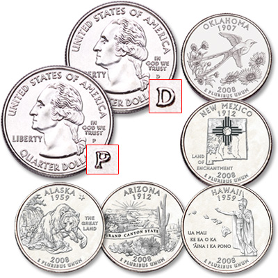 Image for 2008 P&D Statehood Quarter Year Set (10 coins), Uncirculated, MS60 from Littleton Coin Company