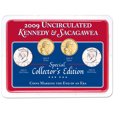 Image for 2009 P&D Kennedy Half Dollar & Sacagawea Dollar Set in Showpak, Uncirculated, MS60 from Littleton Coin Company