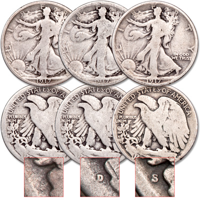 Image for 1917 PDS Liberty Walking Half Dollar Set from Littleton Coin Company