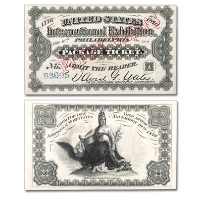 Image for 1876 World's Fair Admission Ticket from Littleton Coin Company