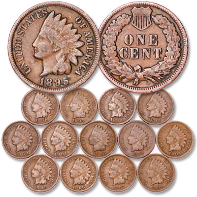Image for 1895-1908 Consecutive Date Indian Head Cents (14 coins), Circulated from Littleton Coin Company