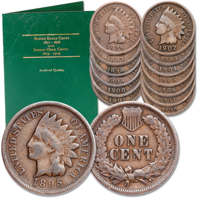 Image for 1895-1908 Consecutive Date Indian Head Cent Set from Littleton Coin Company
