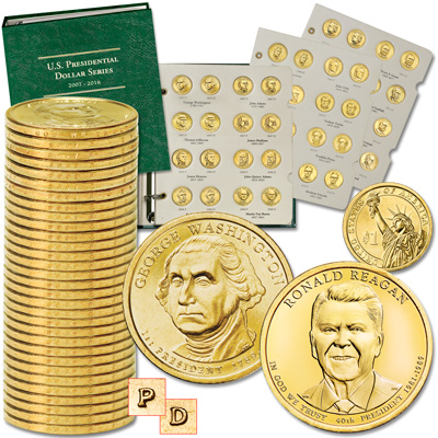 Image for 2007-2016 Complete P&D Presidential Dollar Set with Album from Littleton Coin Company