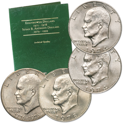 Image for 1974-1978 Eisenhower Dollar Set (4 coins) with Folder from Littleton Coin Company