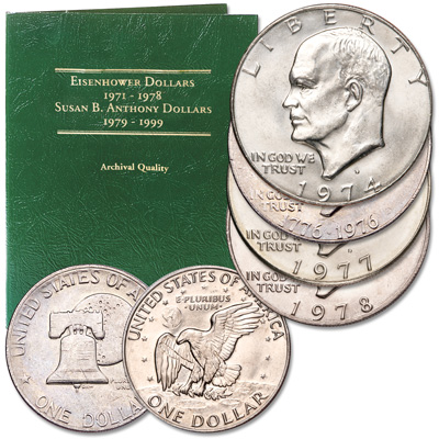 Image for Obsolete Eisenhower Dollar Set (4 coins) from Littleton Coin Company