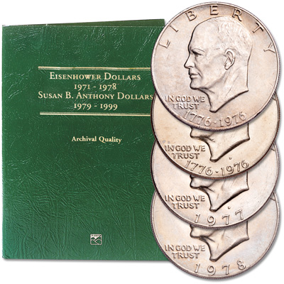 Image for 1976-1978 Eisenhower Dollar Set (4 coins) with Folder from Littleton Coin Company