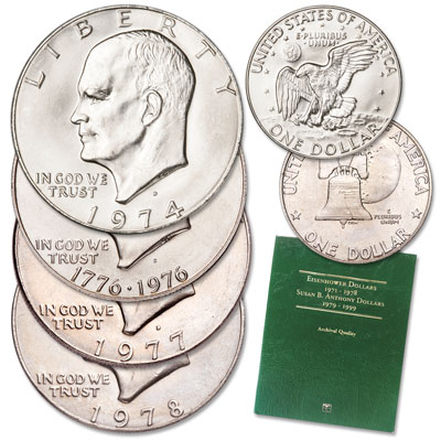 Image for 1974-1978 Eisenhower Dollar Set with Folder from Littleton Coin Company