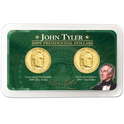 Image for 2009 P&D John Tyler Presidential Dollar in Showpak, Uncirculated, MS60 from Littleton Coin Company