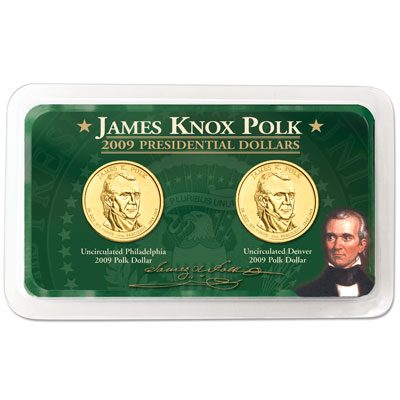 Image for 2009 P&D James K. Polk Presidential Dollar in Showpak, Uncirculated, MS60 from Littleton Coin Company