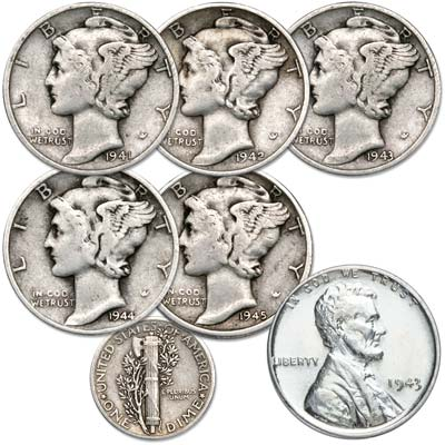 Image for 1941-1945 Mercury Dime Year Set from Littleton Coin Company