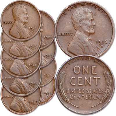 "Image for 1915-1932 ""D"" Mint Lincoln Wheat Cent Set from Littleton Coin Company"