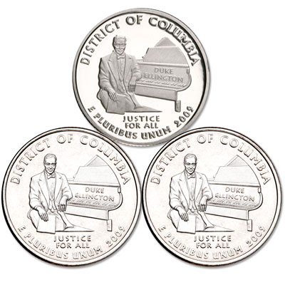 Image for 2009 PDS District of Columbia Quarter Set (3 coins), Uncirculated/Proof from Littleton Coin Company