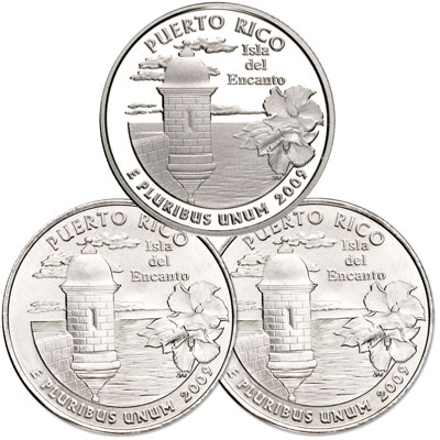 Image for 2009 PDS Puerto Rico Quarter Set (3 coins) from Littleton Coin Company
