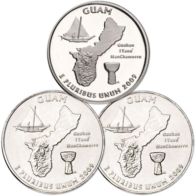 Image for 2009 PDS Guam Quarter Set (3 coins), Uncirculated/Proof from Littleton Coin Company