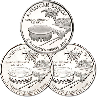 Image for 2009 PDS American Samoa Quarter Set (3 coins), Uncirculated/Proof from Littleton Coin Company