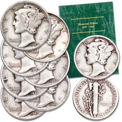 Image for 1940s Mercury Dime Set from Littleton Coin Company