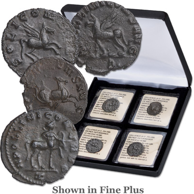 Image for A.D. 253-268 Gallienus Mythical Animal Set (4 coins), Fine Plus from Littleton Coin Company