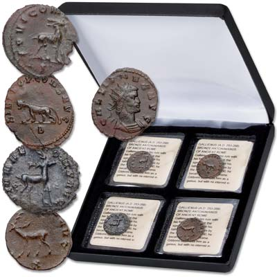 Image for A.D. 253-268 Gallienus Wild Animals Set (4 coins) with Case from Littleton Coin Company