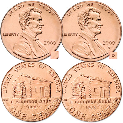 Image for 2009 P&D Lincoln Birthplace Cents, Uncirculated, MS60 from Littleton Coin Company