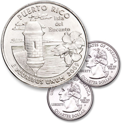 Image for 2009 P&D Puerto Rico Quarter Set (2 coins), Uncirculated, MS60 from Littleton Coin Company