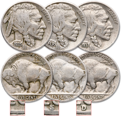 Image for 1935-1937 Buffalo Nickel All-Mint Set from Littleton Coin Company