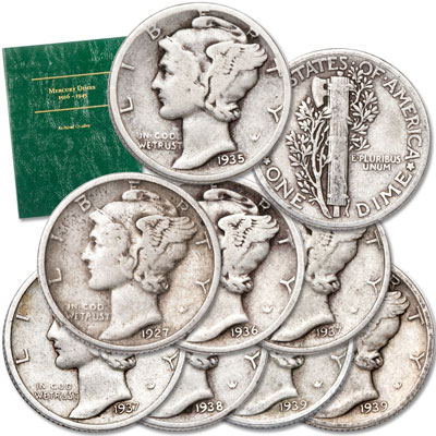 Image for 1927-1939 Mercury Silver Dime Set (8 coins) with Folder from Littleton Coin Company