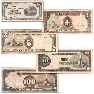 Image for 1942-1944 Japanese Invasion of Philippines Set (5 notes) from Littleton Coin Company