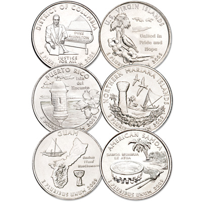 Image for 2009 D.C. & U.S. Territories Quarter Year Set (6 coins) from Littleton Coin Company