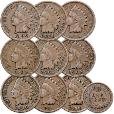 Image for 1900-1908 9 Consecutive Indian Head Cents from Littleton Coin Company
