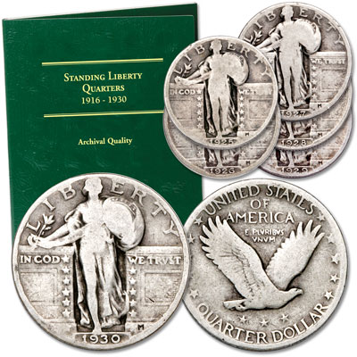 Image for 1925-1930 Standing Liberty Quarter Set (6 coins) with Folder from Littleton Coin Company