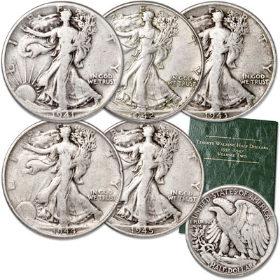 Image for 1941-1945 Liberty Walking Half Dollar Set (5 coins) with Folder, Circulated from Littleton Coin Company