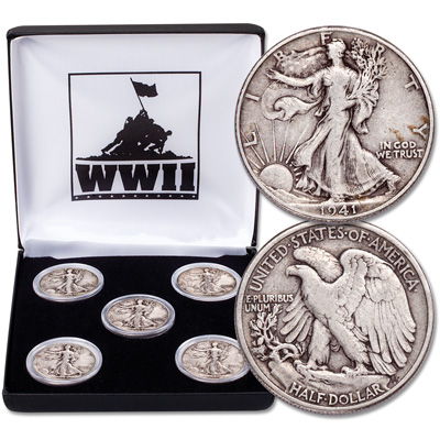 Image for 1941-1945 Liberty Walking Half Dollar Set (5 coins) from Littleton Coin Company