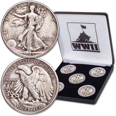 Image for 1941-1945 Liberty Walking Half Dollar Year Set with Case from Littleton Coin Company