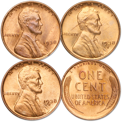 Image for 1938 PDS Wheat Cent Year Set (3 coins), Uncirculated, MS60 from Littleton Coin Company